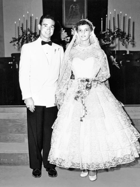 Rodney and Mildred Toon's wedding photo from May 1955. The couple is celebrating their 60th wedding anniversary.