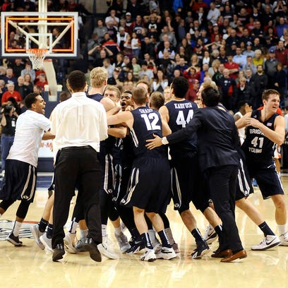 Feb 28, 2015; Spokane, WA, USA; The Brigham Young Cougars
