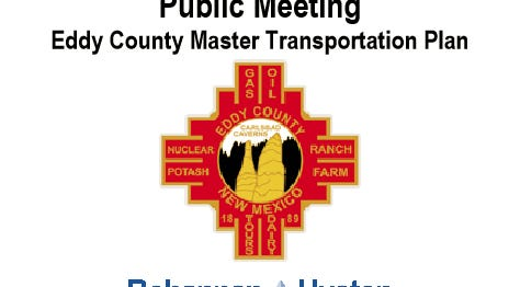 Invitation to Eddy County Transportation Plan meeting.