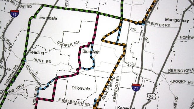 A map of the possible routes for Duke's natural gas pipeline construction project. The pink line through Blue Ash is one of the three routes. The blue line is an alternate to that route.
