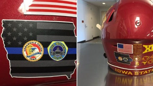 Iowa State will wear a decal to honor the police officers killed early Wednesday.