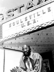 Isaac Hayes outside the famed Stax Records marquee.