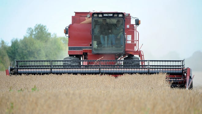 A soybean field near the intersection of Beck and Crestline Roads is harvested on Wednesday.