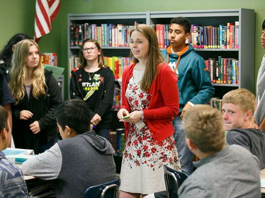 Erika Robbins speaks to students in an advisory class at Stephens Middle School as the group brainstorms ways to reduce bullying on Tuesday, May 17, 2016. The middle school's advisory classes are using their time to tackle the topic of bullying, with students discussing ideas on how to prevent and address the problem in schools.