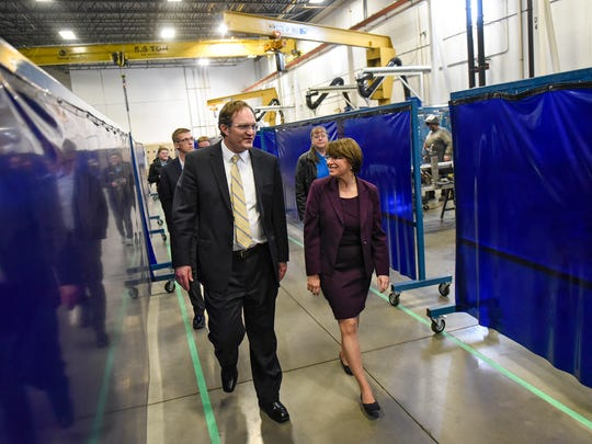 U.S. Sen. Amy Klobuchar takes a tour of the Geringhoff facility with president and CEO Tosh Brinkerhoff during a tour Thursday, April 5, in St. Cloud.