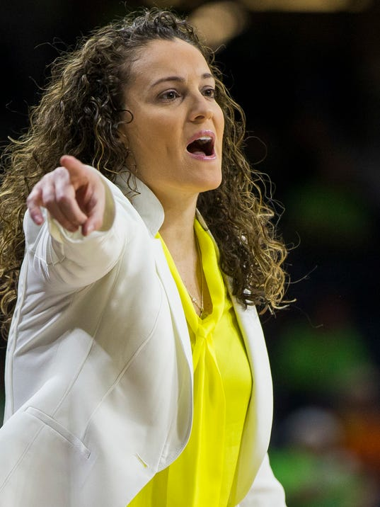 FILE - In this Dec. 20, 2017, file photo, Marquette head coach Carolyn Kieger directs players during the first half of an NCAA college basketball game against Notre Dame in South Bend, Ind. The Marquette women's basketball team is hoping to break through this year in the NCAA Tournament. The Golden Eagles are back in the tourney this year as a No. 8 seed after winning the Big East regular-season title.  (AP Photo/Robert Franklin, File)