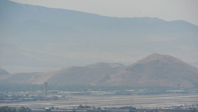 A thick layer of haze and smoke is seen over the Reno-Tahoe International Airport on July 26, 2016.