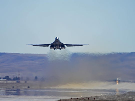An Ellsworth Air Force Base B-1 bomber takes off from the flightline at Ellsworth AFB, S.D., Feb. 25, 2016.