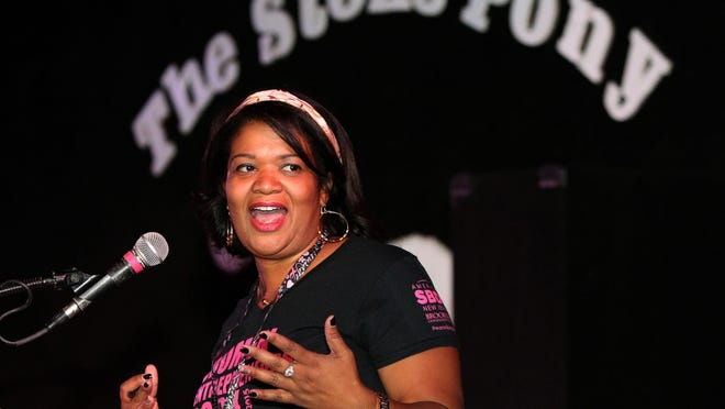 Jackeline Medias-Fuentes, director of the New Jersey Small Business Development Center at Brookdale Community College, addresses the audience at the second annual Women Entrepreneurs Rock female founders event at the Stone Pony in Asbury Park.