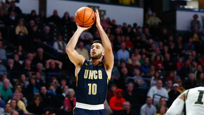 UNC-Greensboro Spartans guard Francis Alonso (10) scored three points in the Spartans' win over The Citadel Thursday night in Greensboro.