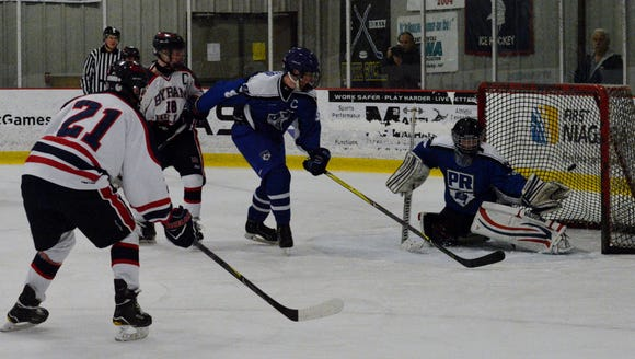 Byram Hills' Michael DiMarco watches his power-play
