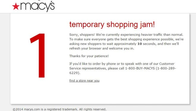 """A screen grab from Macy's website shows the """"temporary shopping jam"""" users faced on Black Friday in an attempt to shop or browse the department store chain's goods."""