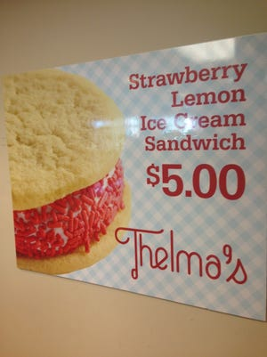 Thelma's Treats' new lemon-strawberry ice cream sandwich is now available at Hilton Coliseum in Ames.
