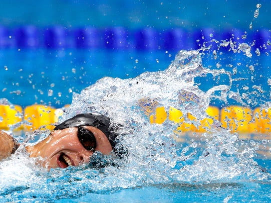 Katie Ledecky competes during the women's 1,500 freestyle