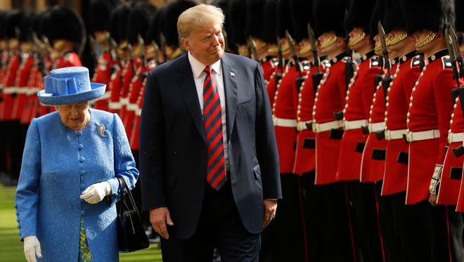 President Trump and Queen Elizabeth II inspect a Guard of Honour, formed of the Coldstream Guards at Windsor Castle. Her Majesty welcomed the President and Mrs Trump at the dais in the Quadrangle of the Castle. A Guard of Honour, formed of the Coldstream Guards, gave a Royal Salute and the US National Anthem was played.