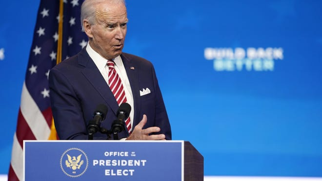 President-elect Joe Biden, accompanied by Vice President-elect Kamala Harris, speaks Monday about economic recovery at The Queen theater in Wilmington, Del.