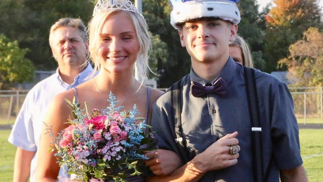 Korie Kaufman and Adan Garcia are crowned Nickerson High School homecoming royalty on Sept. 25.