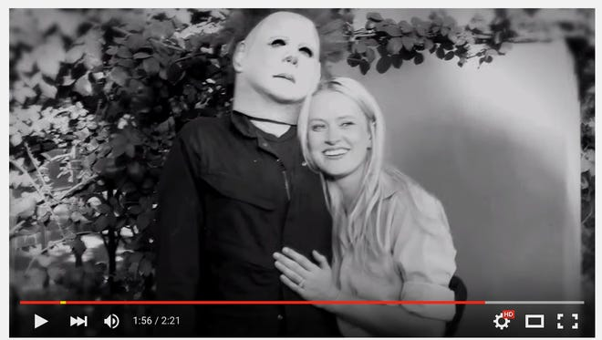Typically the goal of a marriage proposal is to keep the person from running away in terror, but Alec Wells took his chances when he dressed up as Michael Myers, the serial killed from the horror film series Halloween, to propose to his girlfriend.