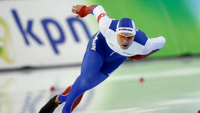 Russia's Pavel Kulizhnikov skates in the men's 1,000 meters at a World Cup event last week in Utah.
