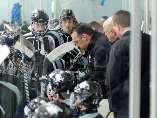 Plymouth Wildcats varsity boys hockey coach Gerry Vento