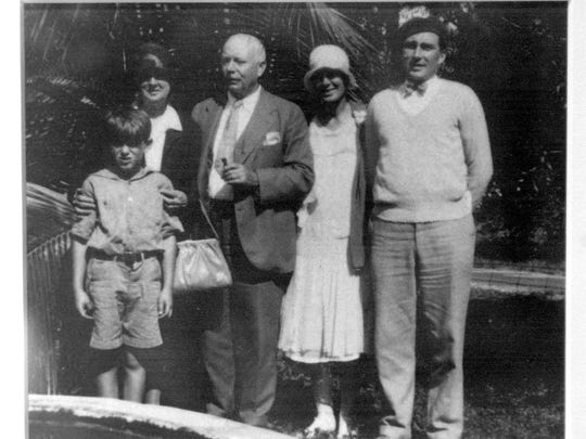 A portrait featuring (from left) George Palmer Putnam Jr.; Alice Binney; Edwin Binney; Dorothy Binney Upton; and Frank Upton taken in 1930 at Binney's home off Indrio Road hangs on the wall of Binney's great granddaughter Sally Putnam Chapman's home in Fort Pierce.