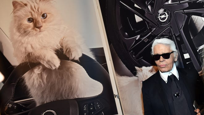 """German fashion designer, artist, and photographer Karl Lagerfeld poses next to a photo of his cat """"Choupette"""" during the inauguration of the show """"Corsa Karl and Choupette"""" at the Palazzo Italia in Berlin on February 3, 2015. Lagerfeld presented the Corsa Calendar, consisting of photographs Lagerfeld has taken of his cat Choupette posing in and on the new Corsa model of car maker Opel.         AFP PHOTO / DPA / JENS KALAENE    +++    GERMANY OUTJENS KALAENE/AFP/Getty Images ORIG FILE ID: 537428640"""