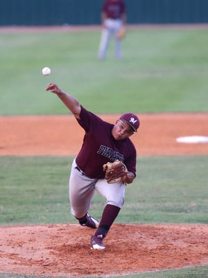 Mathis' Brandon Salinas pitches in the first inning of the game against Falfurrias at Fairgrounds Field in Robstown on Thursday, May 11, 2017.