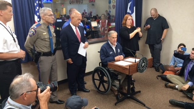 Texas Gov. Greg Abbott Abbott urges Texans to heed the warnings of local authorities as Hurricane Harvey takes aim at Texas on Aug. 25, 2017.