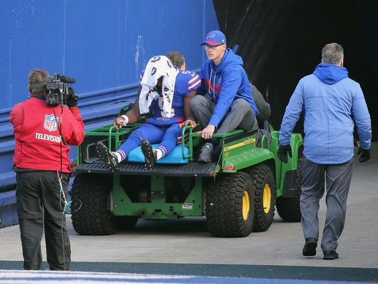 Bills quarterback Tyrod Taylor is taken off the field