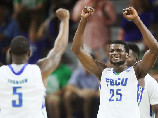 FGCU's Marc-Eddy Norelia celebrates a basket during