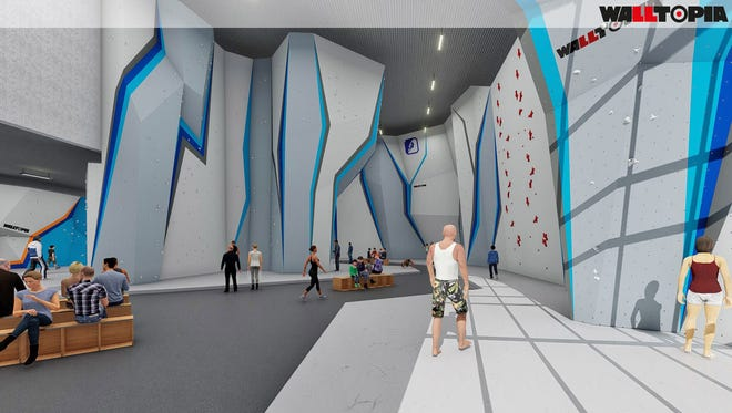 A photo illustration of the inside of Central Rock Gym, which is expected to open here in the fall of 2018.