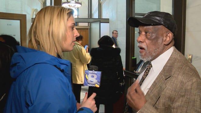 WROC-TV's Ashley Edlund questions Assemblyman David Gantt in Albany.
