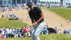 Tony Finau, shown putting Sunday at No. 1, made a costly