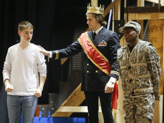 """Bennett Atwater (left) as the title character with Benjamin von Duyke (King Charles) and Nate Memba (Lewis) during a rehearsal for the Tatnall School production of """"Pippin."""""""