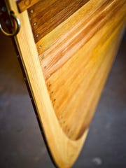A wooden version of an Adirondack guide boat custom built for Martha Stewart.