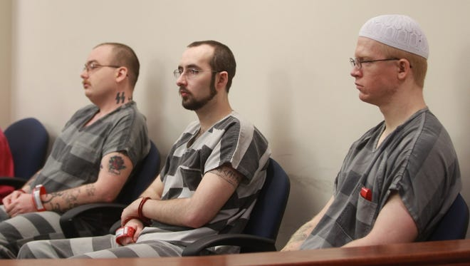 Stephen Harkness, left, Jeffrey Allen and Anthony Baumgertner sit in Boone Circuit Court on Wednesday.