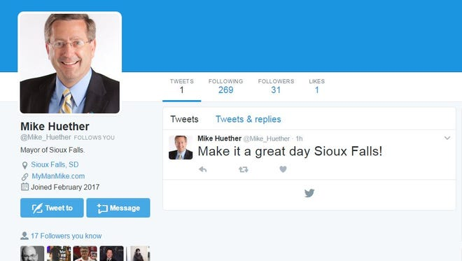The Twitter account @Maike_Huether is not owned or authorized by the Sioux Falls mayor, according to City Hall.