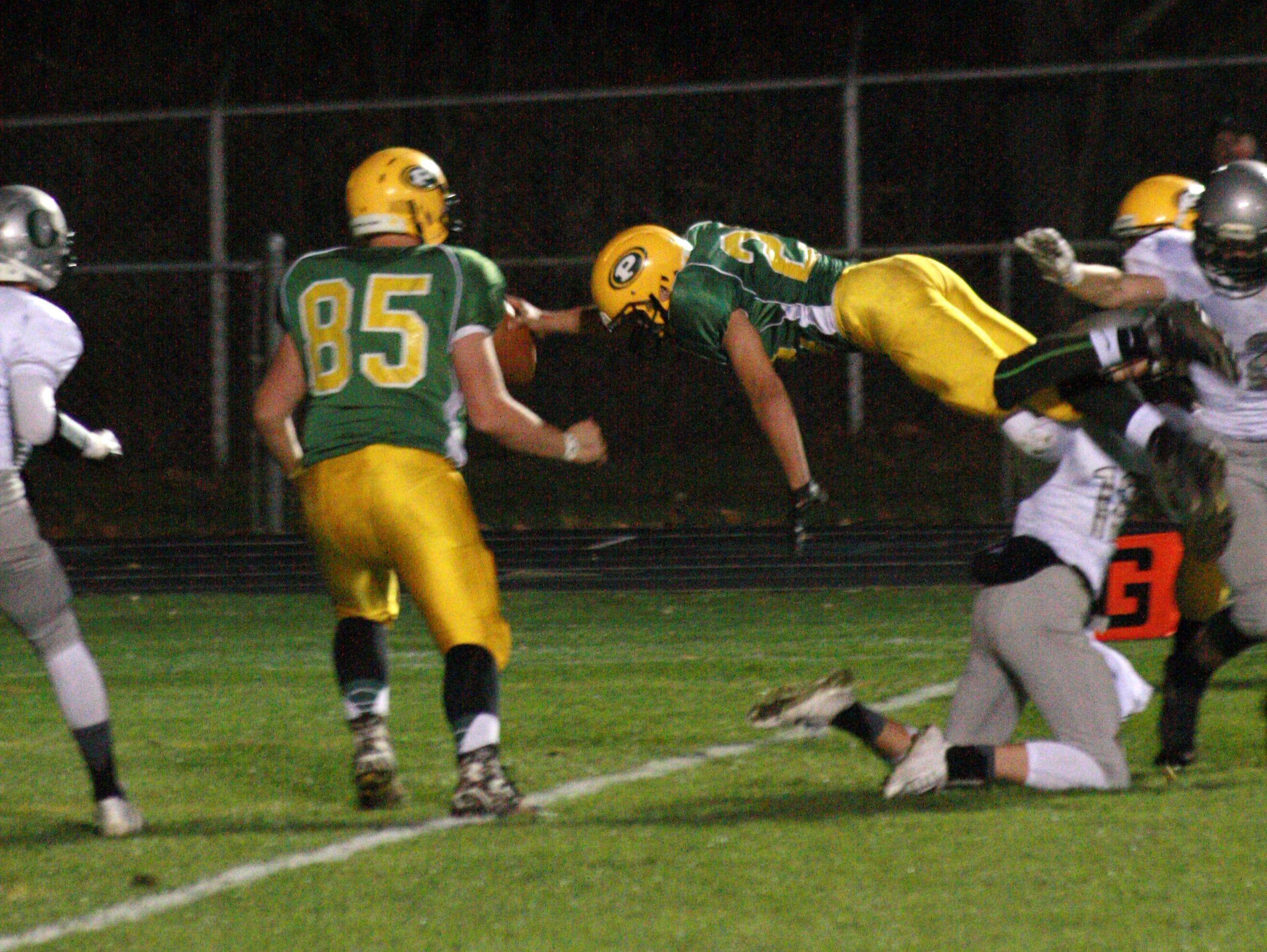 Pennfield Junior, Dillion Striplin scores Pennfield's first touchdown Friday night against Olivet.