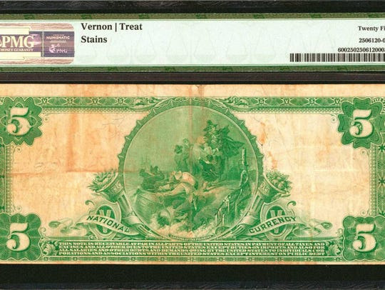 Back of the bill: a $5 bill issued by First National