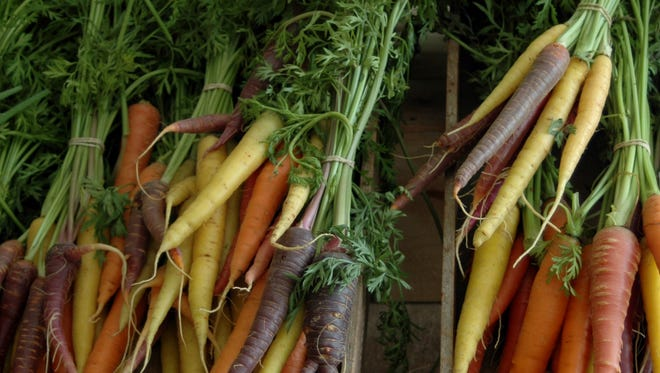 Rainbow carrots from a farm in Bedford Hills.