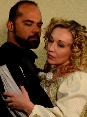 """Southwest Shakespeare Company's Hope Brown and Amanda Renee Baker in """"Othello."""""""