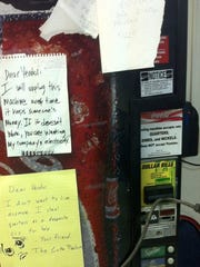 One of the most effective ways of fighting back against thieving soda machines is to leave a note. But it could be weeks before a refund comes.