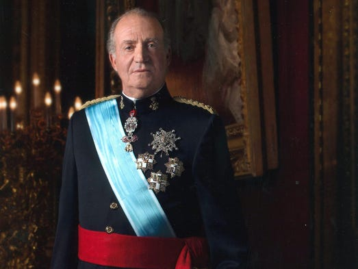 Spanish King Juan Carlos poses for an official portrait on Jan. 1, 2005, in Madrid.King Juan Carlos announced he will step down from the throne in favor of his son Prince Felipe, ending his 39-year-reign.