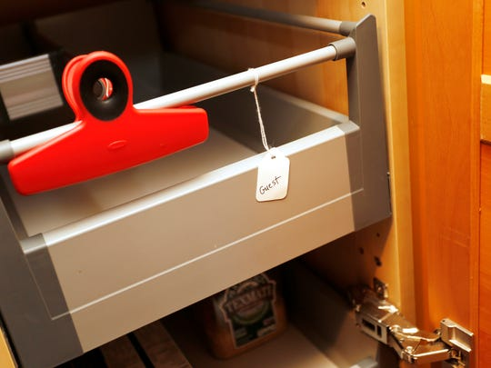 A pull out drawer in the kitchen pantry reserved for