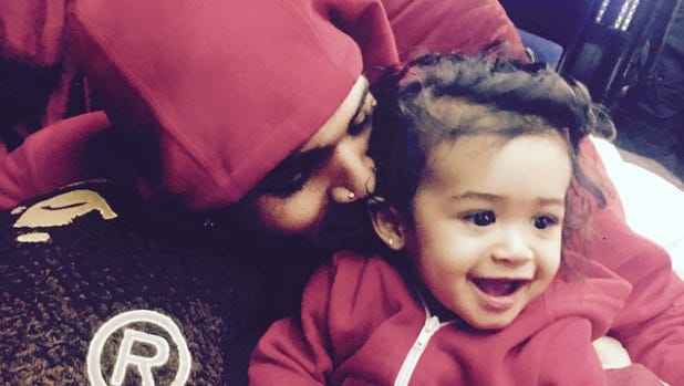 """Chris Brown posted ta photo to Instagram last night, shouting out his """"twin"""" Royalty, who is SO cute."""
