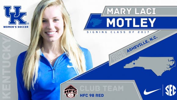 Roberson senior Mary Laci Motley has signed to play college soccer for Kentucky.