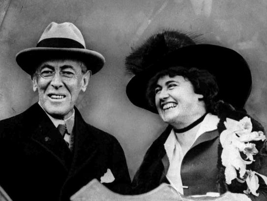 U.S. President Woodrow Wilson and his wife, first lady