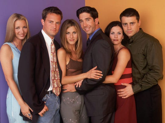 "Lisa Kudrow, Matthew Perry, Jennifer Aniston, David Schwimmer, Courteney Cox, Matt LeBlanc on ""Friends."""