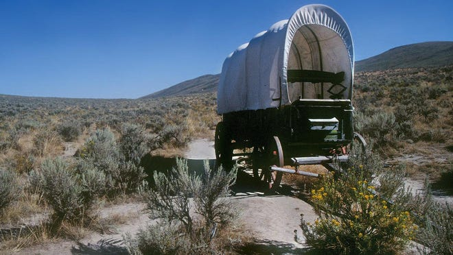 A wagon is seen at the Oregon Trail Interpretive Center in Baker City. Wagons like this one struggled over the Cascades in the 1800s trying to find a shortcut to the Willamette Valley.