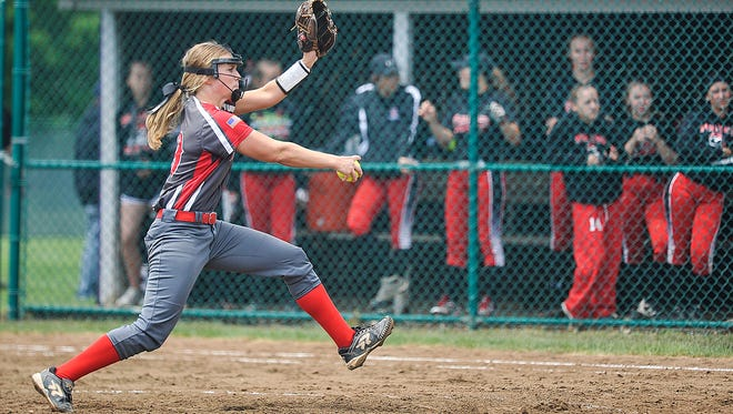 Johnstown senior Sydney Stefanick, shown pitching against Cardington in the Division III district finals at Pickerington Central, is the Licking County League Cardinal Division Player of the Year.